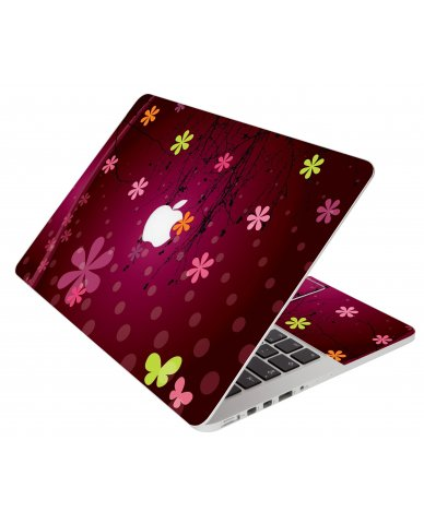 Retro Pink Flowers Apple Macbook Air 13 A1466 Laptop  Skin