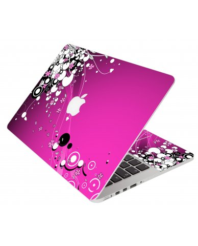 Pink Flowers Apple Macbook Original 13 A1181 Laptop Skin