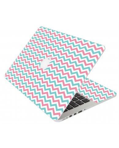 Pink Teal Chevron Waves Apple Macbook Original 13 A1181 Laptop Skin