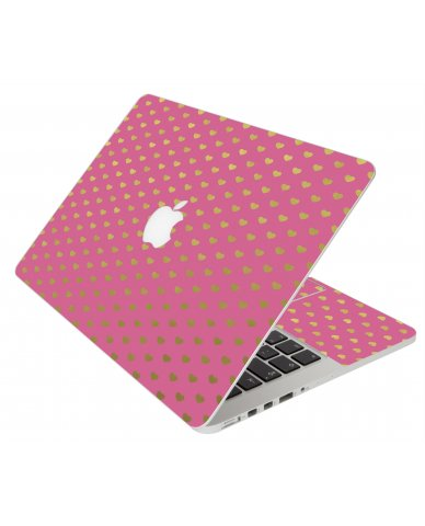 Pink With Gold Hearts Apple Macbook Original 13 A1181 Laptop Skin