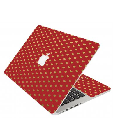Red Gold Hearts Apple Macbook Original 13 A1181 Laptop Skin