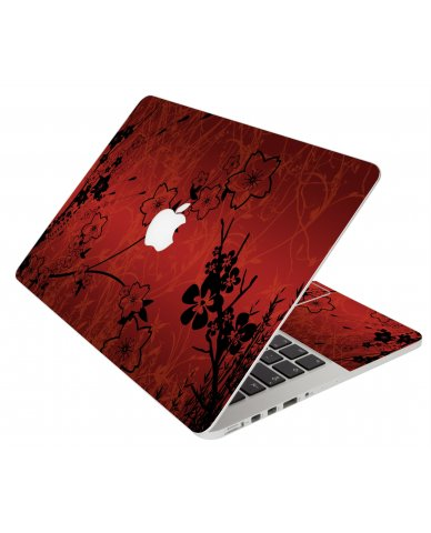 Retro Red Flowers Apple Macbook Original 13 A1181 Laptop Skin