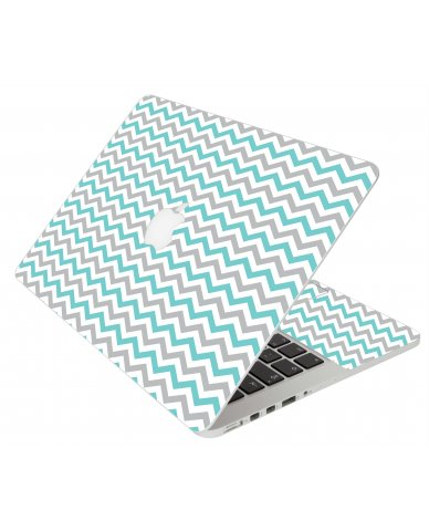Teal Grey Chevron Waves Apple Macbook Original 13 A1181 Laptop Skin