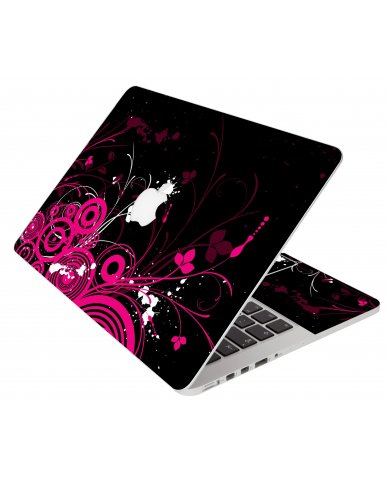 Black Pink Butterfly Pro 13 Retina A1502 Apple Macbook Laptop Skin