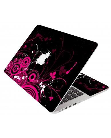 Black Pink Butterfly Pro 13 Retina A1502 Apple Macbook Laptop Skin