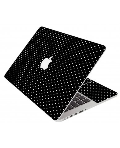 Black Polka Dots Apple Macbook Pro 13 Retina A1502 Laptop Skin
