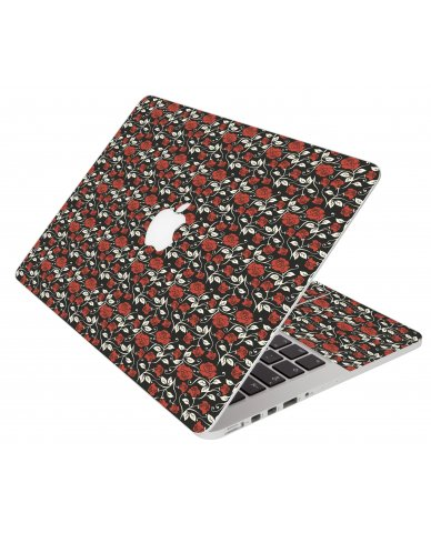 Black Red Roses Apple Macbook Pro 13 Retina A1502 Laptop Skin