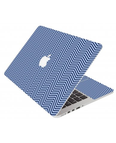 Blue On Blue Chevron Apple Macbook Pro 13 Retina A1502 Laptop Skin