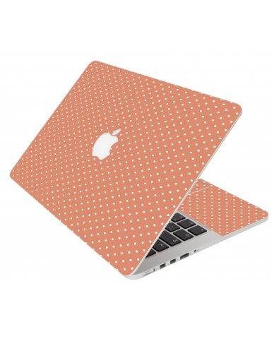 Coral Polka Dots Apple Macbook Pro 13 Retina A1502 Laptop Skin