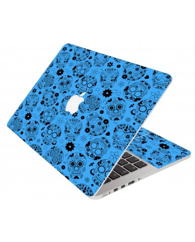 Crazy Blue Sugar Skulls Apple Macbook Pro 13 Retina A1502 Laptop Skin