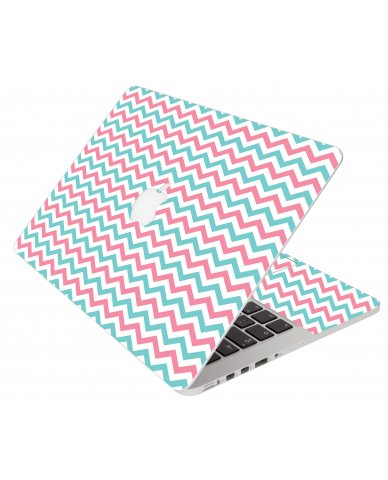 Pink Teal Chevron Waves Apple Macbook Pro 13 Retina  A1502 Laptop Skin