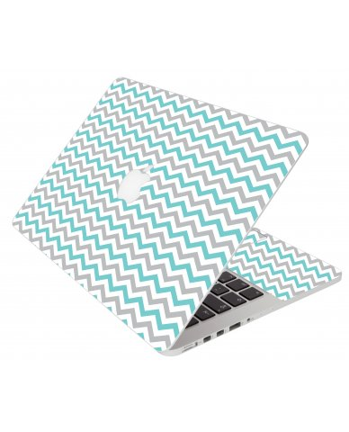 Teal Grey Chevron Waves Apple Macbook Pro 13 Retina  A1502 Laptop Skin