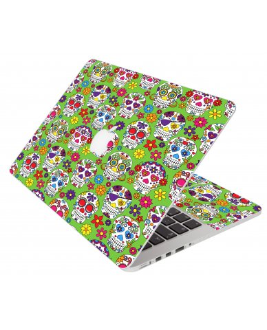 Green Sugar Skulls Apple Macbook Pro 15 A1286 Laptop Skin