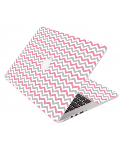 Pink Grey Chevron Waves Apple Macbook Pro 15 Retina  A1398 Laptop Skin
