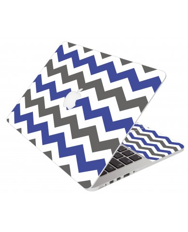 Grey Blue Chevron Apple Macbook Pro 17 A1151 Laptop Skin