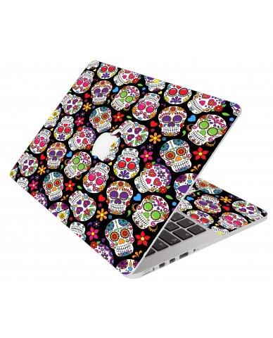 Sugar Skulls Black Flowers Apple Macbook Pro 17 A1151 Laptop Skin