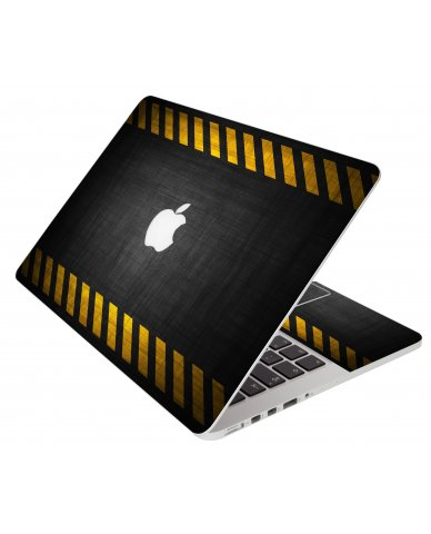 Black Caution Border Apple Macbook Pro 17 A1297 Laptop Skin