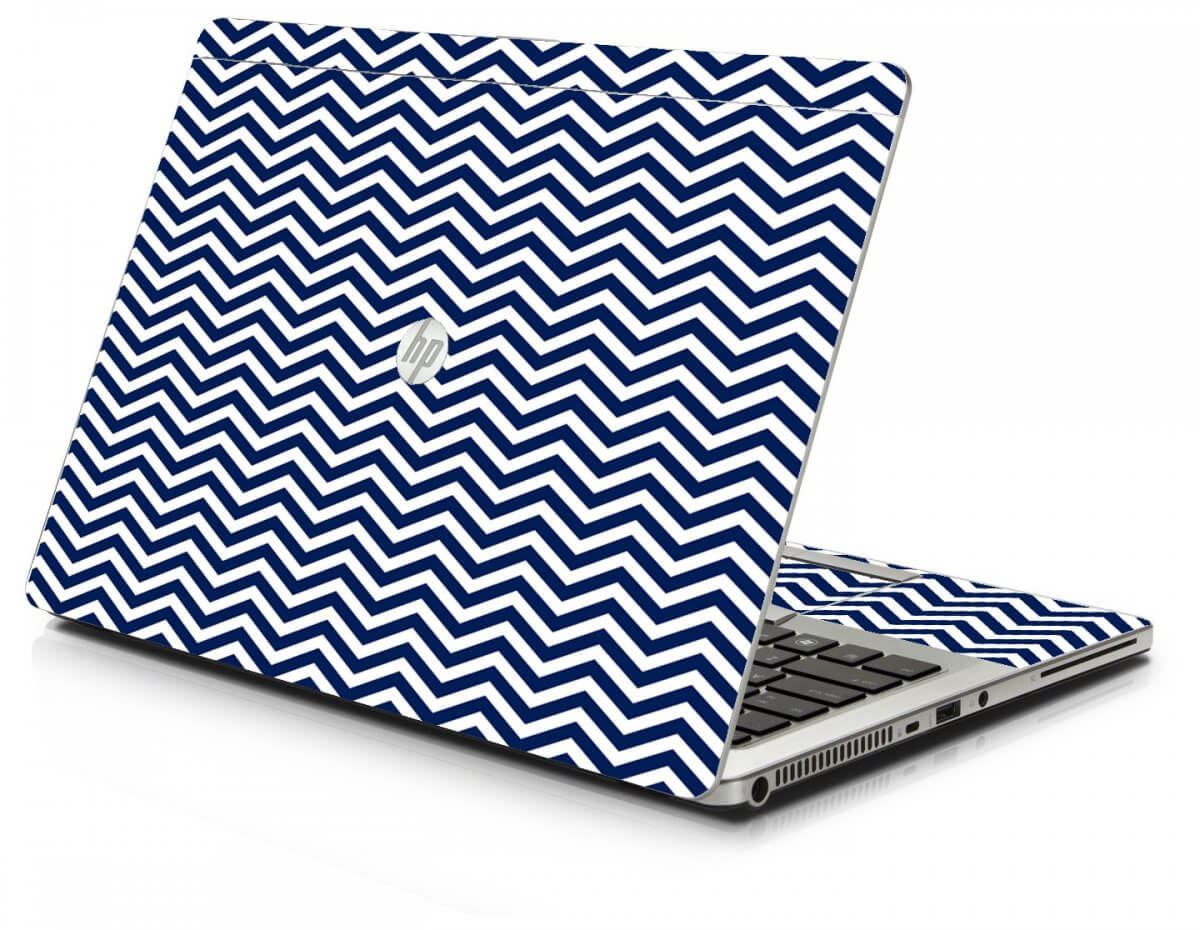 Blue Wavy Chevron HP 9470M Laptop Skin