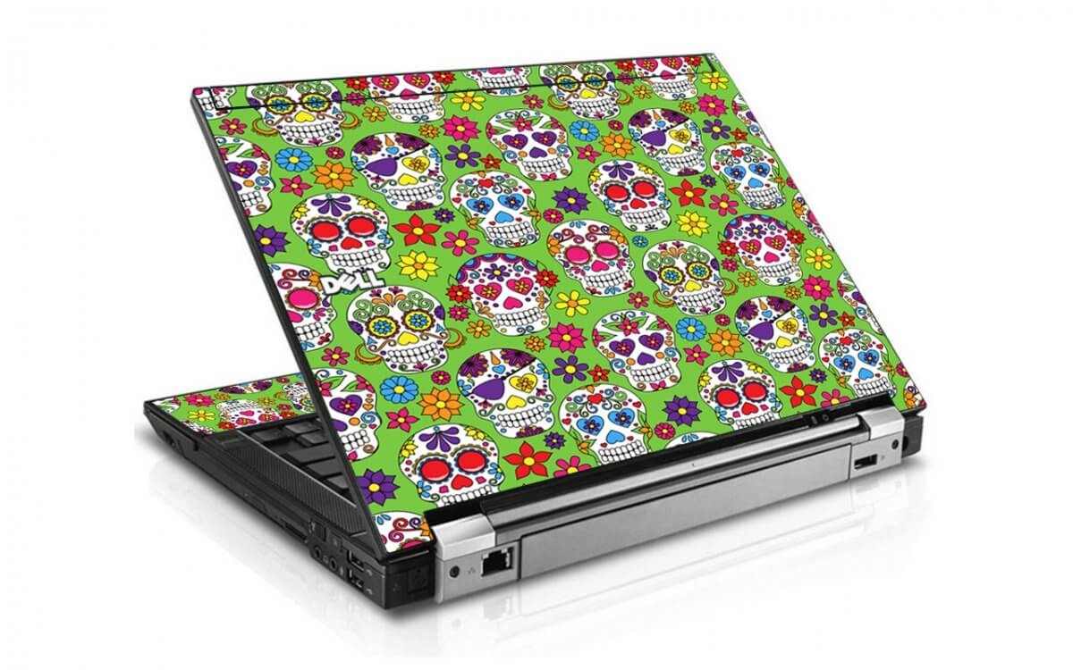 Green Sugar Skulls Dell E4310 Laptop Skin
