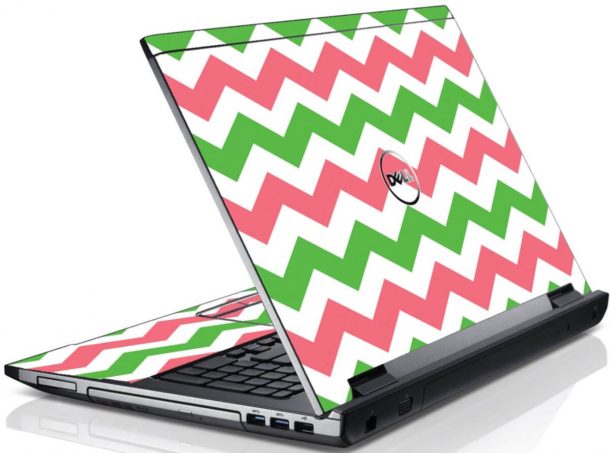 Green Pink Chevron Dell V3550 Laptop Skin