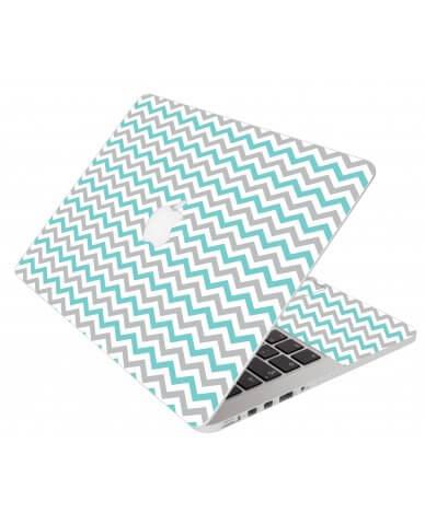 Teal Grey Chevron Waves Apple Macbook Pro 15 A1286  Laptop Skin