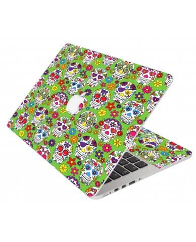 Green Sugar Skulls Apple Macbook Pro 15 Retina A1398 Laptop Skin