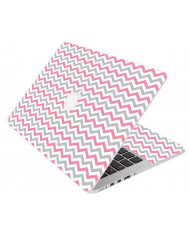 Pink Grey Chevron Waves Apple Macbook Pro 17 A1297  Laptop Skin