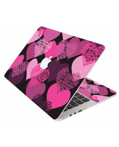Pink Mosaic Hearts Apple Macbook Pro 17 A1297 Laptop  Skin