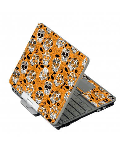 Orange Sugar Skulls HP EliteBook 2730P Laptop Skin