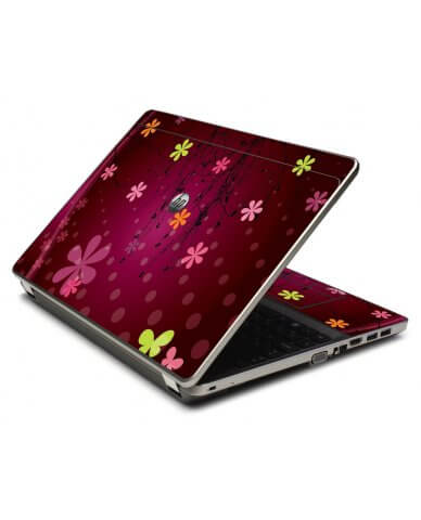 Retro Pink Flowers 4535S Laptop Skin