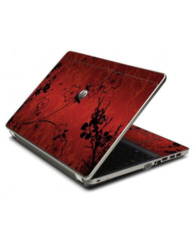 Retro Red Flowers 4535S Laptop Skin