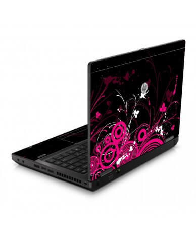 Black Pink Butterlfy 6460B Laptop Skin