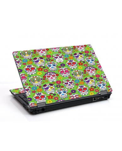 Green Sugar Skulls 6530B Laptop Skin