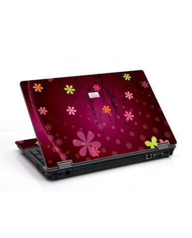 Retro Pink Flowers 6530B Laptop Skin
