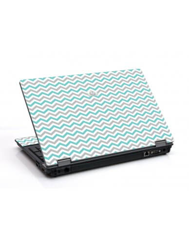 Teal Grey Chevron Waves 6530B Laptop Skin