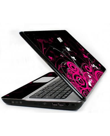 Black Pink Butterfly 6730S Laptop Skin