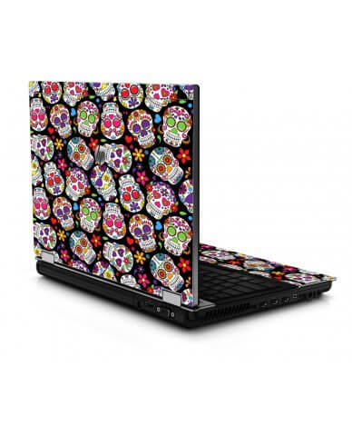 Sugar Skulls Black Flowers 8440P Laptop Skin