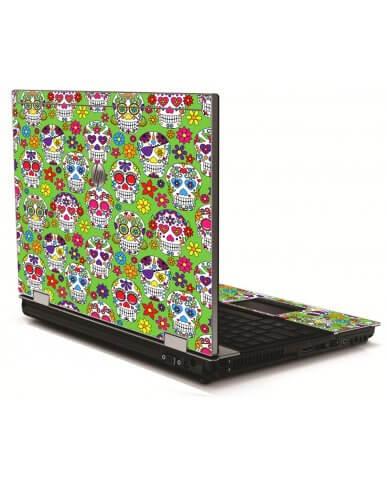 Green Sugar Skulls HP 8540W Laptop Skin