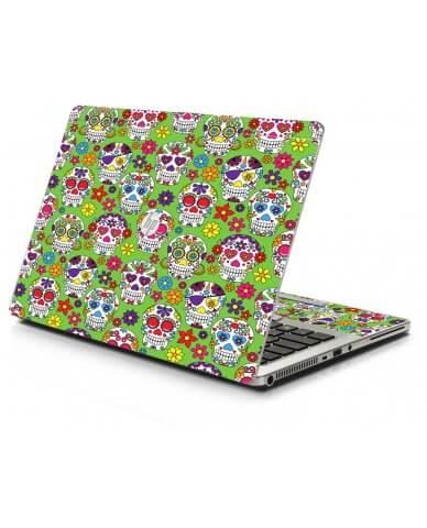 Green Sugar Skulls HP 9470M Laptop Skin