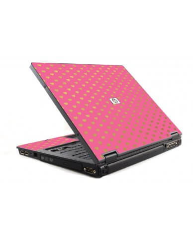 Pink With Gold Hearts 6510B Laptop Skin