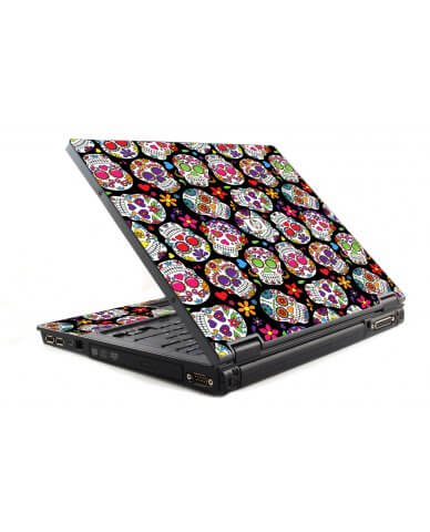 Sugar Skulls Black Flowers HP NC6120 Laptop Skin