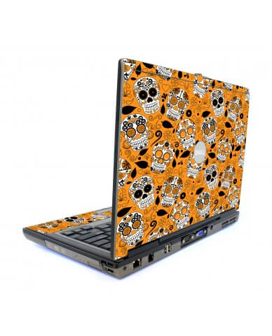 Orange Sugar Skulls Dell D820 Laptop Skin