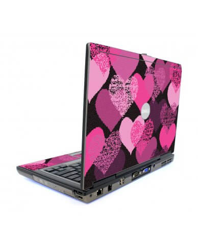 Pink Mosaic Hearts Dell D820 Laptop Skin