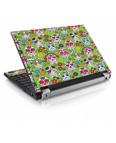 Green Sugar Skulls Dell E4200 Laptop Skin