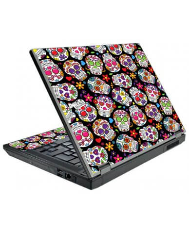 Sugar Skulls Black Flowers Dell E5500 Laptop Skin