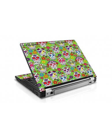 Green Sugar Skulls Dell E6400 Laptop Skin