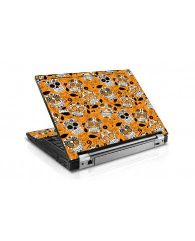 Orange Sugar Skulls Dell E6400 Laptop Skin