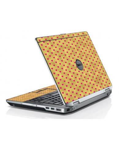 Gold Light Pink Hearts Dell E6420 Laptop Skin