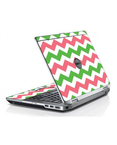 Green Pink Chevron Dell E6420 Laptop Skin