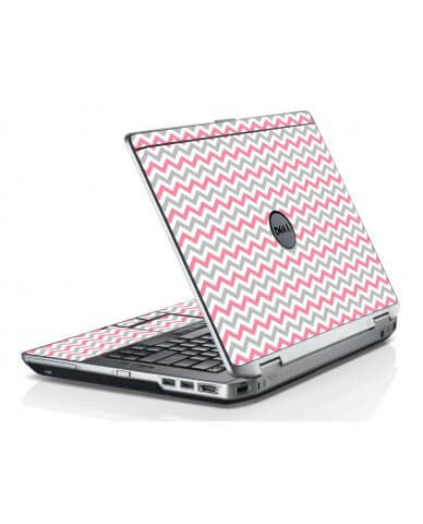 Pink Grey Chevron Waves Dell E6420 Laptop Skin